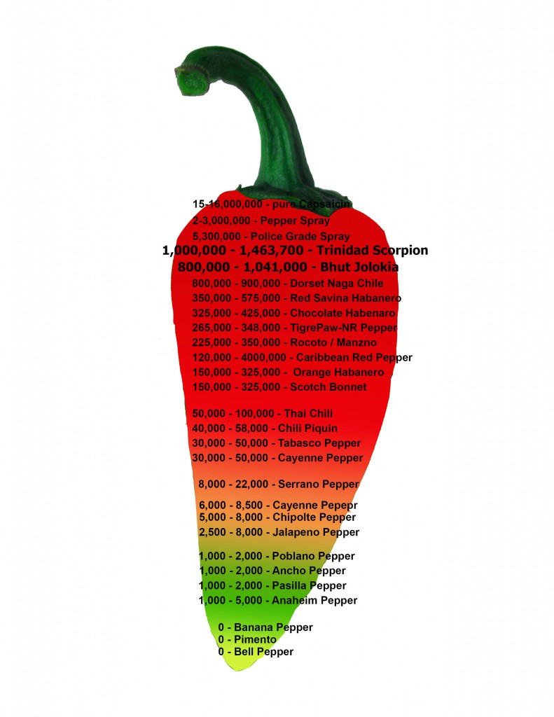 The scoville hot pepper scale